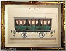RARE DESSIN 19è ENCRE GOUACHE TRAIN WAGON Ière classe signé Chevillon 42x26cm