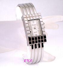 Chic Vintage Art Deco Nouveau Relief Silver Ladies Bangle Feature Watch W/ Light
