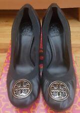 TORY BURCH Caroline Black Patent Leather Mid Heel Shoes Size 7.5M
