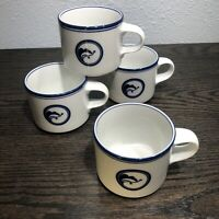 Vintage Dansk Flora Juniper Set Of 4 Coffee Mugs Cups Japan White Blue 8 oz