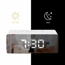 LED Digital Mirror Alarm Clock Night Lights Wall Clock With Date Thermometer USB