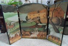 Folding 3-Part Fireplace Screen Depicting Noah's Ark Painted Scene