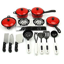 Kids Play Toy Kitchen Cooking Food Utensils Pans Dishes Cookware Supplies Proper