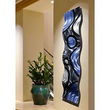 Silver & Blue Contemporary 3D Wave Metal Wall Art Sculpture Accent by Jon Allen