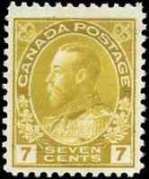 Canada #113 mint F-VF OG LH 1916 King George V 7c yellow ochre Admiral CV$55.00