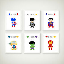 Superhero Prints Childrens Boys Bedroom Nursery Decor Pictures Wall Art Playroom