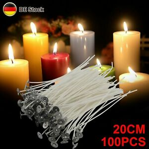 100X Kerzendocht Docht 20 cm gewachst und mit Fuß zum Kerzen selbst gestalten
