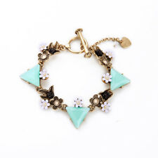B441 Betsey Johnson Vintage Bridal Wedding Dove Bird Blue Gemstone Bracelet  US