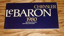 Original 1980 Chrysler LeBaron Owners Operators Manual 80
