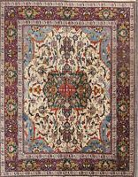 Antique Ivory Hand-knotted Traditional Area Rug Wool Floral Oriental Carpet 9x11