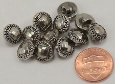 """12 Small Silver Tone Domed Electroplated Plastic Shank Buttons 7/16"""" 11MM # 6310"""