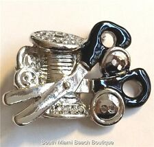 Sewing Quilting Gift Pin Brooch Scissors Buttons Embroidery Seamstress USASeller