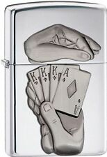 Zippo Windproof Polished Chrome Lighter With Full House, 28837, New In Box