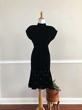 New listing Vtg 80s Taurus Ii Black Velvet Drop Waist Flounce Dress Mock Neck Pearls
