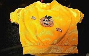 HALLOWEEN dog shirt,SOFT Velour with sequence Pumpkin by MAXS CLOSET ORIGINAL