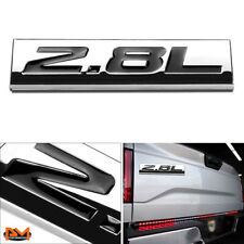 """2.8L"" Polished Metal 3D Decal Black Emblem Exterior Sticker For Volkswagen/Saab"