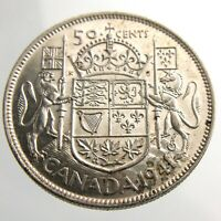 1941 Canada 50 Cents Half Dollar Circulated George VI Silver Coin Fifty R637
