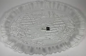 """Mikasa Winter Dreams Oval Platter Canape Tray Frosted Glass 17.5"""" Etched Deer"""