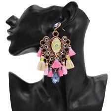 Bohemian Retro Ethnic Carving Tassel Fring Boho Dangle Ear Stud Earrings Jewelry