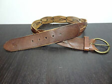 Ambercrombie & Fitch Distressed Brown Leather Braided Studded Belt - Small