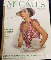 VTG Mccall's Magazine Ads Fashion Art Deco  July 1934 Stunning Dresses Swimwear