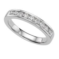 Ring size L 9ct White Gold GF Diamond Half Eternity Wedding Gift Holiday