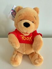 "Vintage Disney Store Winnie the Pooh Red Shirt Bear 10"" Plush W/ Tags"