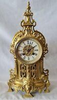 Antique Ormolu Clock French 19c 8 Day Pierced Gilt Brass / Bronze