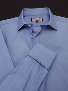 Thomas Pink Mens 16L 36.5 Blue Murphy Stripe Classic Fit French Cuff Dress Shirt
