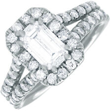 18k White Gold Emerald Shape GIA Certified Engagement Ring 3.10 Carat Diamond