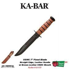 "Ka-Bar USMC 7"" Fixed Blade, Fighting Knife, w/Brown Leather Sheath #1217CP"