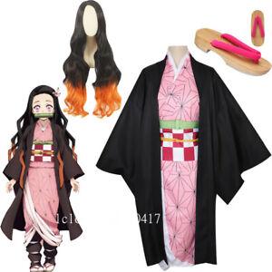 Cosplay Anime Demon Slayer Kimetsu no Yaiba Kamado Nezuko Costume Kimono Set