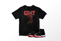 Real GOAT Graphic T-Shirt to Match Air Jordan 11 Bred Retro All Sizes Pro Club