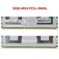For Samsung 32GB 4RX4 PC3L-10600L DDR3L-1333Mhz ECC REG LRDIMM Server Memory RAM