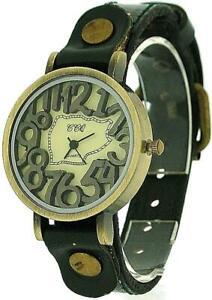 TOC Unisex Oxidised Metal Dancing Numbers Dark Green Strap Watch SW-775
