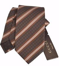 NEW Gucci Men's 349388 Brown GG Guccissima Woven Silk Neck Tie