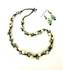 Tagua Nut Necklace & Earring Set Green and White Vegetable Ivory Necklace TAG165