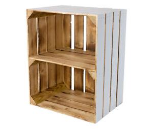 3 Praktische Holzkiste zur Aufbewahrung und zum Regalbau / außen weiß