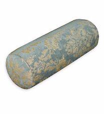 We201g Gray Blue Damask Flower Chenille Throw Bolster Cover Yoga Neck Roll Case