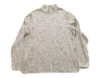 Croft & Barrow Mock Neck Beige & White Snowflake Glitter LS Top Size XL NWT