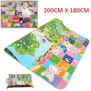 2 SIDE BABY PLAY MAT KIDS CRAWLING EDUCATIONAL SOFT FOAM BABY CARPET 200X180CM A
