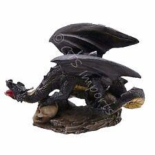 Mini Black Dragon Statue Holding Skull in It's Claw Fantasy Figurine 69737