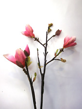 Artificial Pink Magnolia Stem Artificial Flowers Artificial Leaves, Silk Flowers