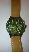 Timex Men Tw4B044009J Expedition Scout Chrono Tan/Green Leather Strap Watch