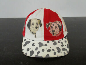 VINTAGE 101 Dalmatians Hat Cap Snap Back Red White Disney Movie Kids Boys 90s
