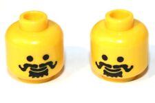 2x LEGO® Kopf mit Schwarz-Grauen Haaren und Schnurrbart 3626bpx68 NEU Gelb