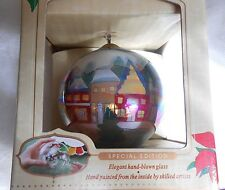 Antique Heritage Inside Art Xmas Glass Ball Picturing Victorian Town, Nib