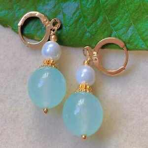Natural Baby blue chalcedony beads Pearl eardrop gold earrings VALENTINE'S DAY
