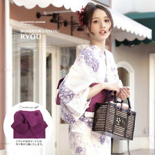 Japanese Woman Kimono Yukata Pre-tied Obi Geta Set Bonheur Saisons Light Purple
