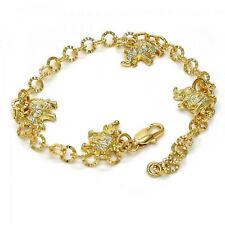 New Gold filled Charm Bracelet, Elephant Design, Diamond Cutting E88B